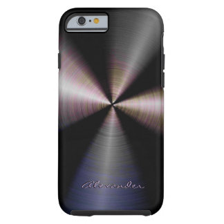 Tinted Stainless Steel Metal Look-Custom Text Tough iPhone 6 Case