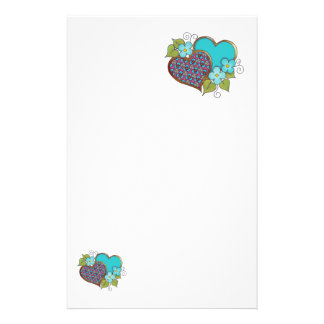 Tiny-010 Turquoise and maroon pattern Stationery