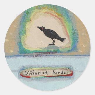 Tiny Art # 602 - Different Birds original painting Round Sticker