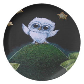 TINY BLUE OWL CAN'T REACH THE STARS Melamine Plate