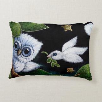 TINY BLUE OWL & DOVE POLYESTER PILLOW