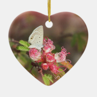 Tiny Butterfly on Pink Flower Ceramic Heart Ornament