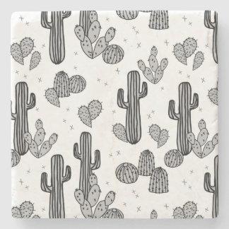 Tiny Cactus Cacti Exotic Tropical / Andrea Lauren Stone Coaster
