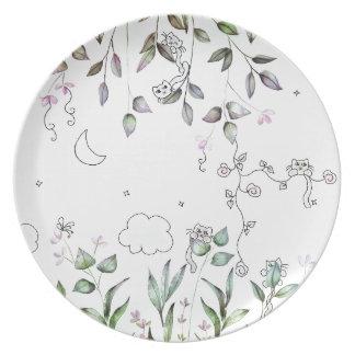 Tiny Cat Garden Plates