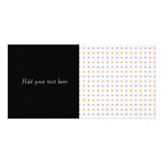 Tiny Colorful Hearts Pattern Pink Blue Yellow Photo Greeting Card