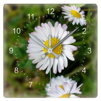 Tiny daisies square wall clock