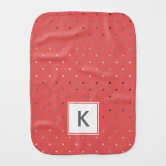 tiny faux rose gold coral polka dots pattern burp cloth