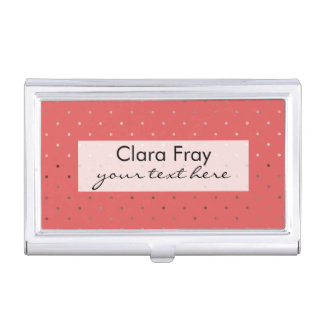 tiny faux rose gold coral polka dots pattern business card holder