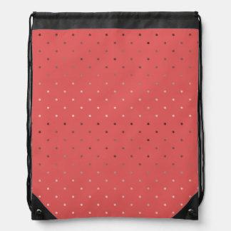 tiny faux rose gold coral polka dots pattern drawstring bag