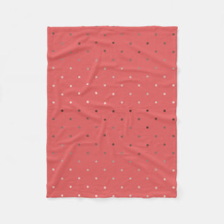 tiny faux rose gold coral polka dots pattern fleece blanket