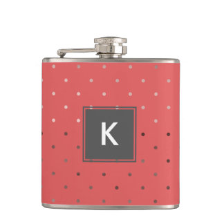 tiny faux rose gold coral polka dots pattern hip flask