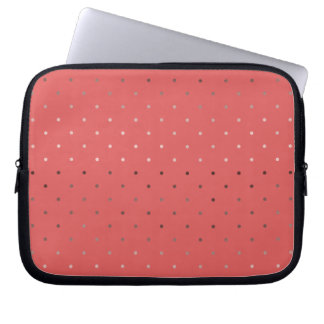 tiny faux rose gold coral polka dots pattern laptop sleeve