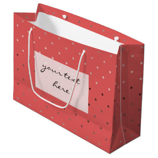 tiny faux rose gold coral polka dots pattern large gift bag