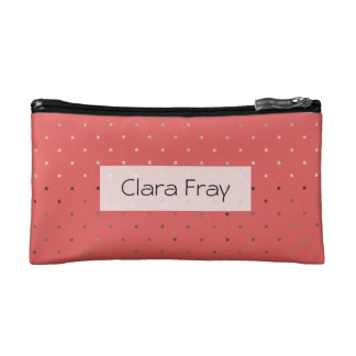 tiny faux rose gold coral polka dots pattern makeup bag