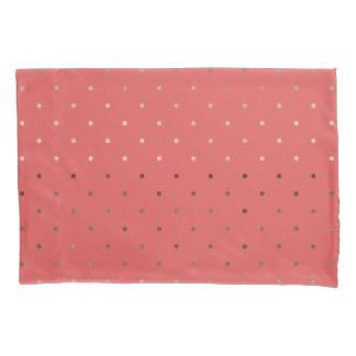 tiny faux rose gold coral polka dots pattern pillowcase