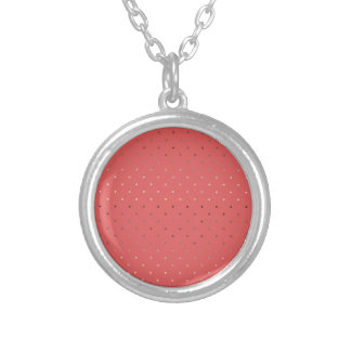 tiny faux rose gold coral polka dots pattern silver plated necklace