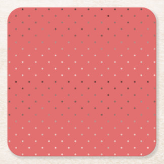 tiny faux rose gold coral polka dots pattern square paper coaster