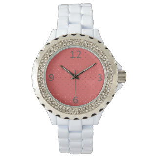 tiny faux rose gold coral polka dots pattern watch