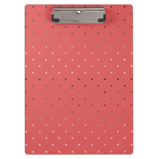 tiny faux rose gold foil coral polka dots pattern clipboards