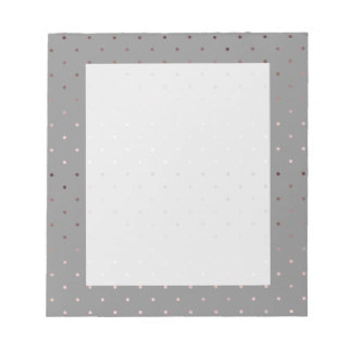 tiny faux rose gold foil grey polka dots pattern notepad