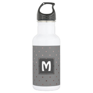 tiny faux rose gold grey polka dots pattern 532 ml water bottle