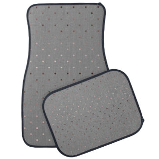 tiny faux rose gold grey polka dots pattern car mat