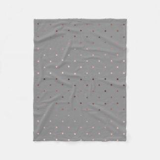 tiny faux rose gold grey polka dots pattern fleece blanket