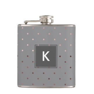 tiny faux rose gold grey polka dots pattern hip flask