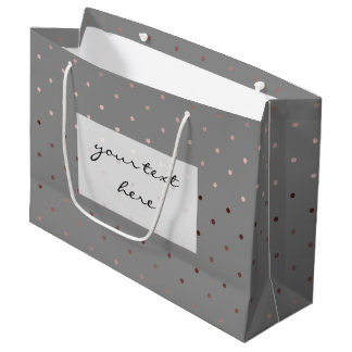 tiny faux rose gold grey polka dots pattern large gift bag