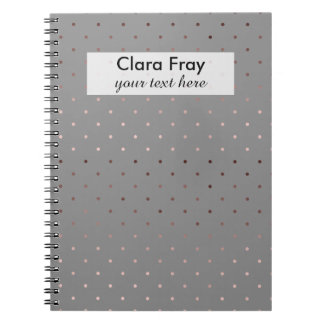 tiny faux rose gold grey polka dots pattern notebooks