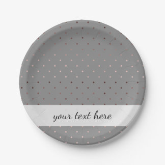 tiny faux rose gold grey polka dots pattern paper plate