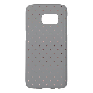 tiny faux rose gold grey polka dots pattern samsung galaxy s7 case