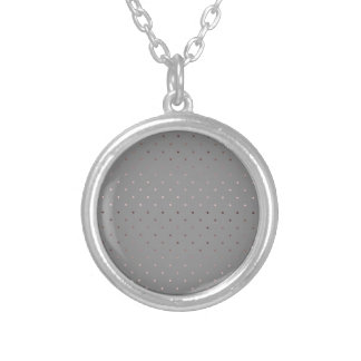 tiny faux rose gold grey polka dots pattern silver plated necklace