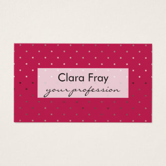 tiny faux rose gold pink polka dots pattern business card