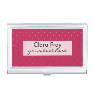 tiny faux rose gold pink polka dots pattern business card holder
