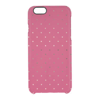 tiny faux rose gold pink polka dots pattern clear iPhone 6/6S case