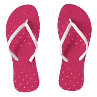 tiny faux rose gold pink polka dots pattern flip flops