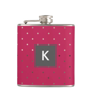 tiny faux rose gold pink polka dots pattern hip flask
