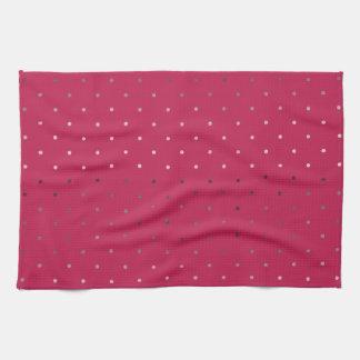 tiny faux rose gold pink polka dots pattern kitchen towel