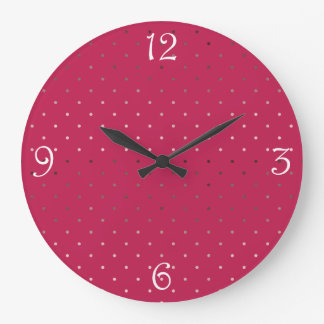 tiny faux rose gold pink polka dots pattern large clock