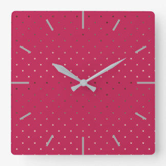 tiny faux rose gold pink polka dots pattern square wall clock