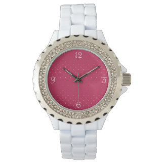 tiny faux rose gold pink polka dots pattern watch