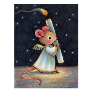 Tiny Flame - Cute Christmas Angel Mouse Art Postcard