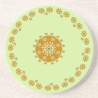 Tiny Flower, Brown Green Coaster
