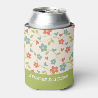 Tiny Flowers with Green Base Personalized Wedding Can Cooler