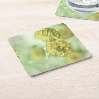 Tiny Flowers Yellow Square Paper Coaster