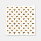 Tiny Gold Glittered Hearts Pattern Cocktail Napkin