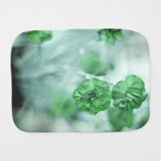 Tiny Green Flower Baby Burp Cloths