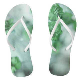 Tiny Green Flower Flip Flops
