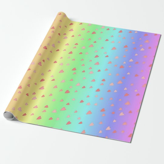 Tiny Hearts on Pastel Rainbow Colours Wrap Paper